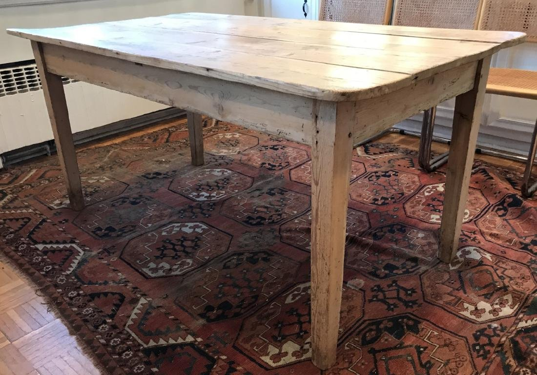 Antique 19th C American Pine Farm Dining Table