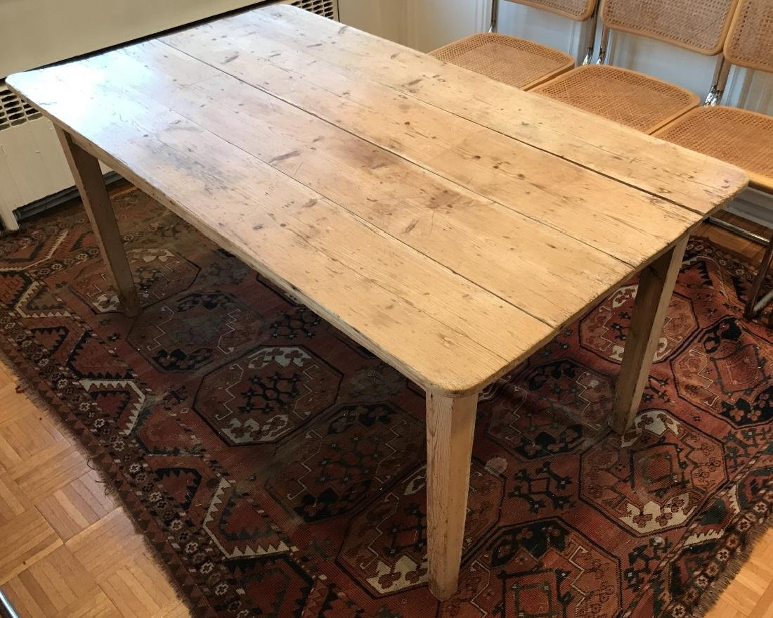 Antique 19th C American Pine Farm Dining Table - 4