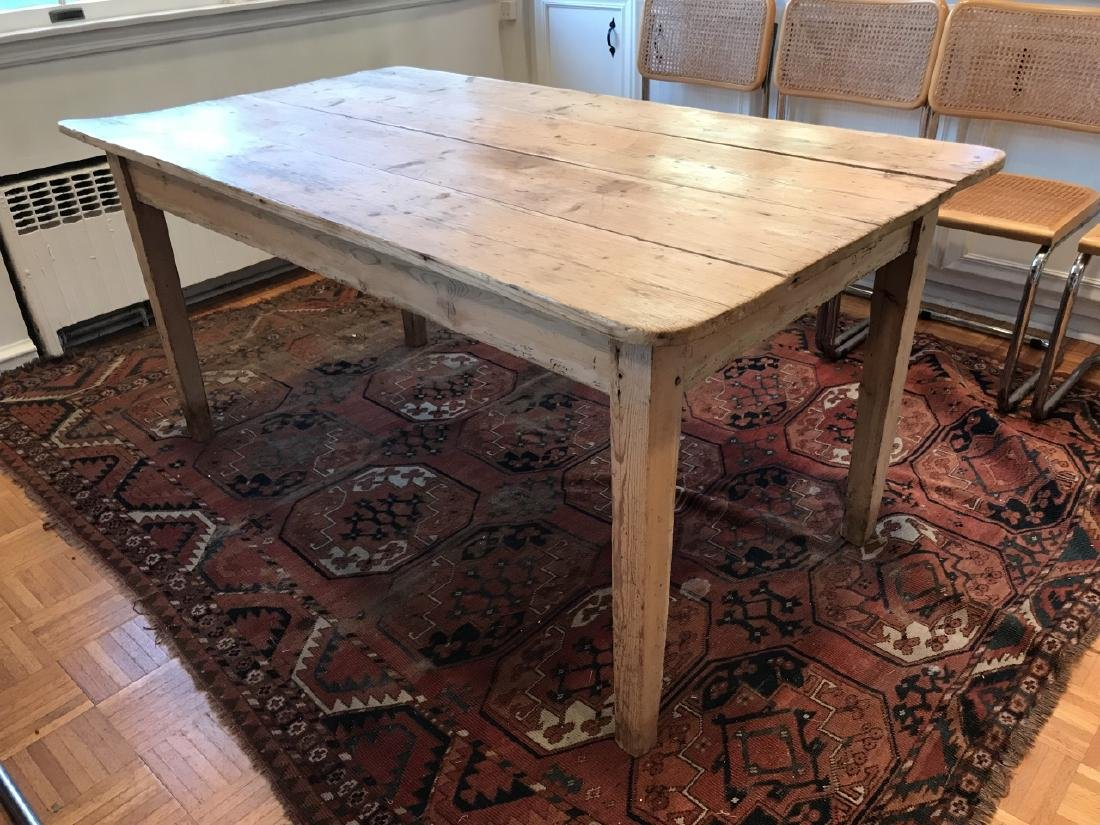 Antique 19th C American Pine Farm Dining Table - 5