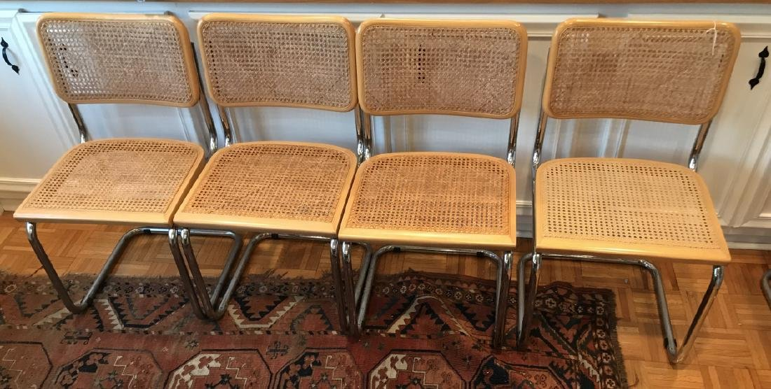 Set of Marcel Breuer Style Caned Dining Chairs