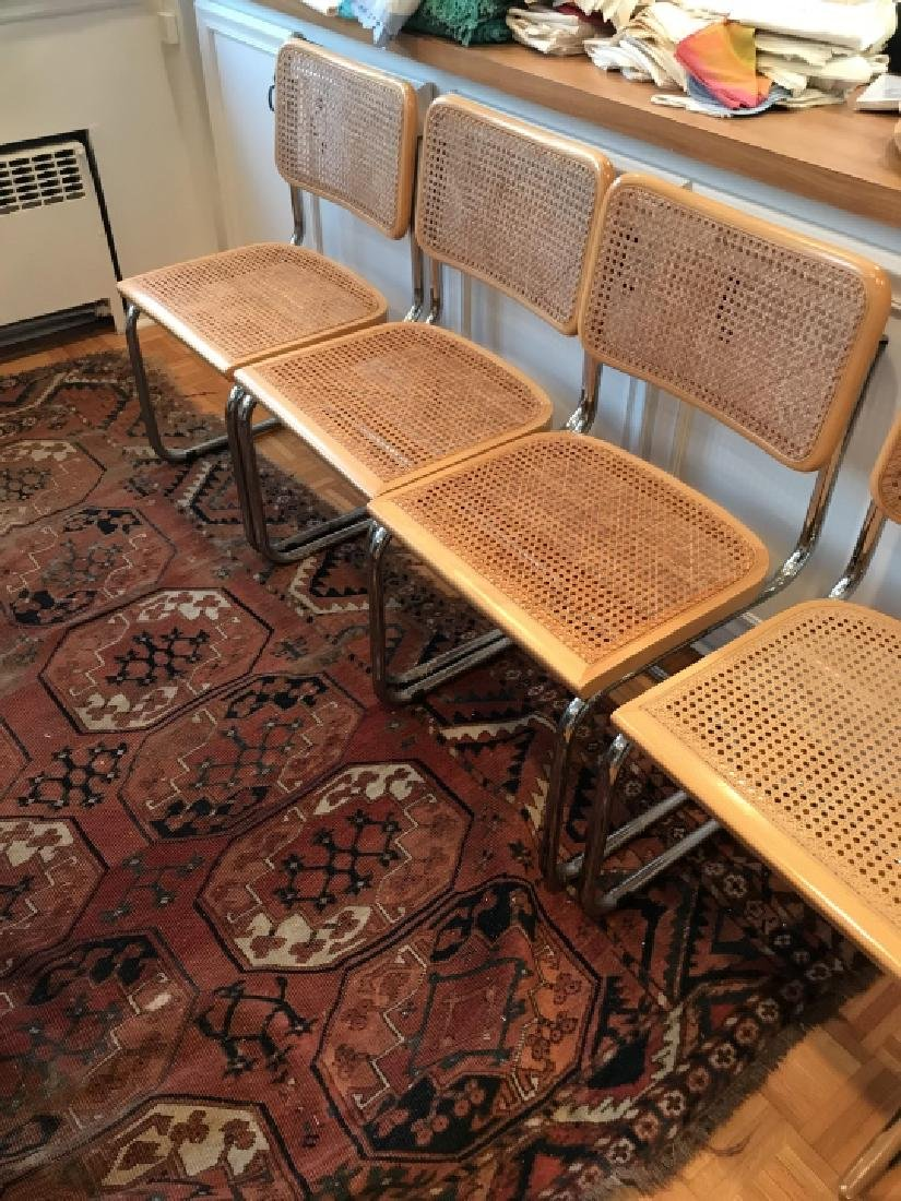 Set of Marcel Breuer Style Caned Dining Chairs - 2