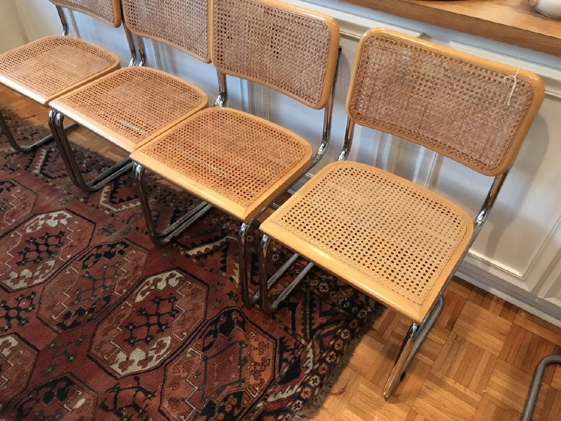Set of Marcel Breuer Style Caned Dining Chairs - 3