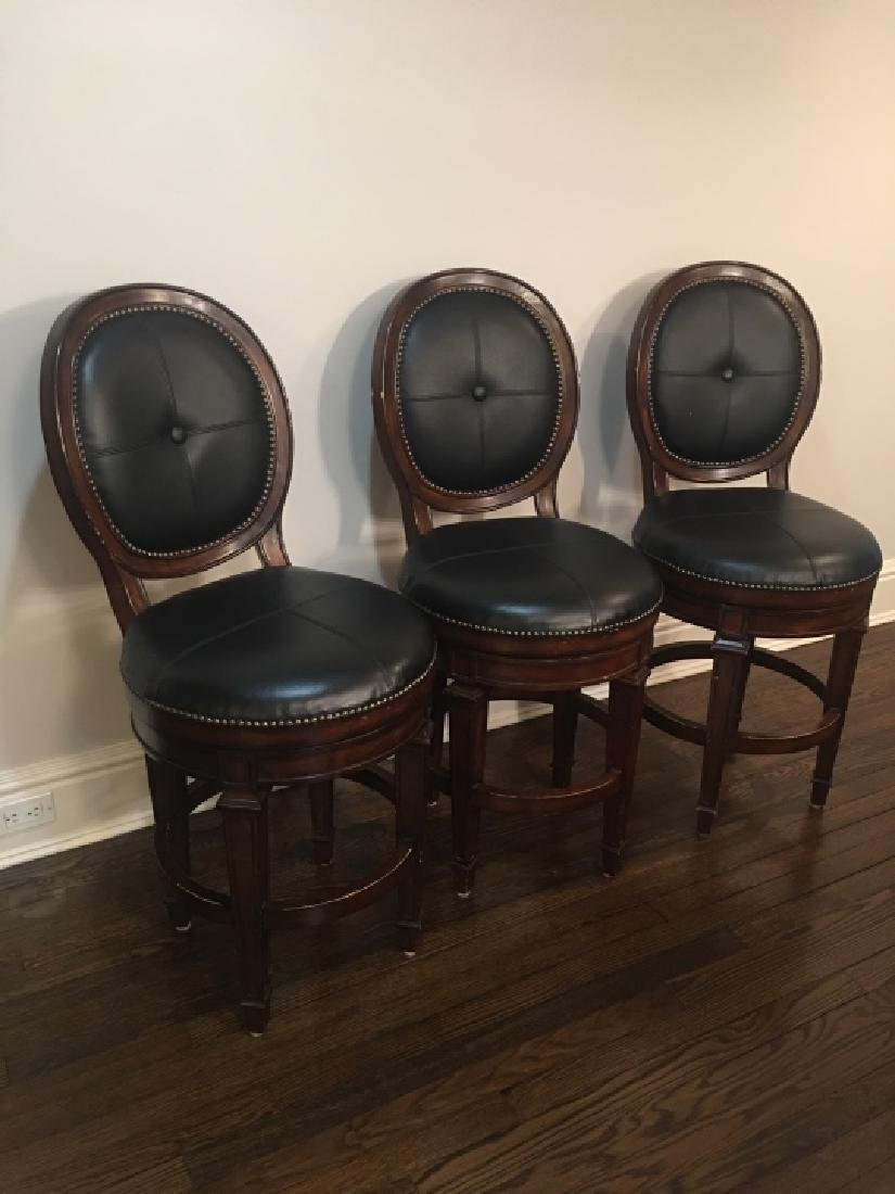3 Frontgate Langston Style Leather Bar Stools - 3
