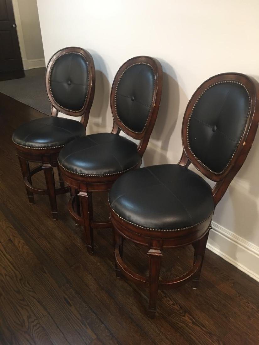 3 Frontgate Langston Style Leather Bar Stools - 5