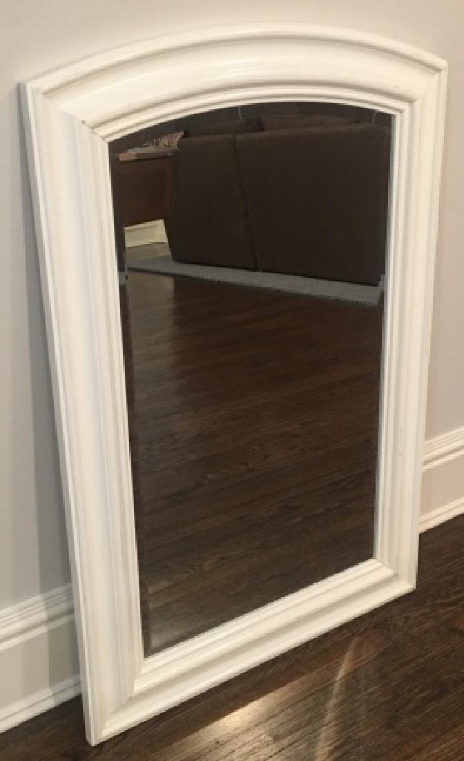 Contemporary White Wood Frame Beveled Mirror