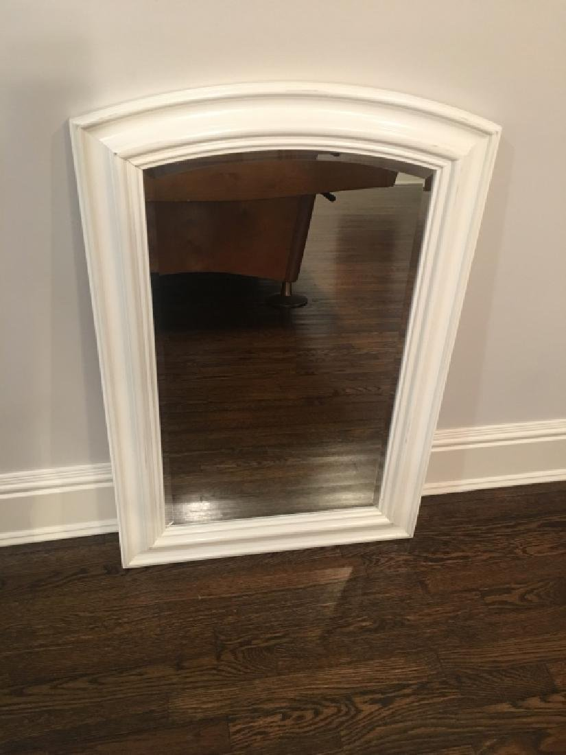 Contemporary White Wood Frame Beveled Mirror - 2