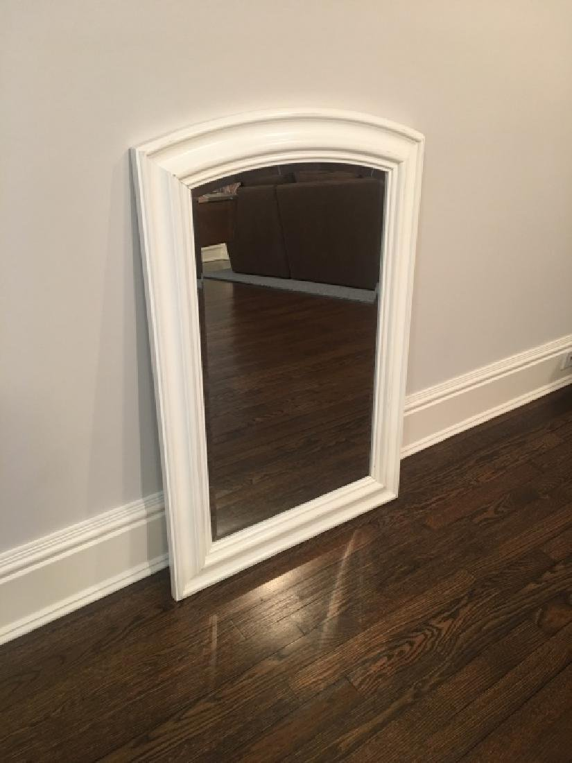 Contemporary White Wood Frame Beveled Mirror - 3