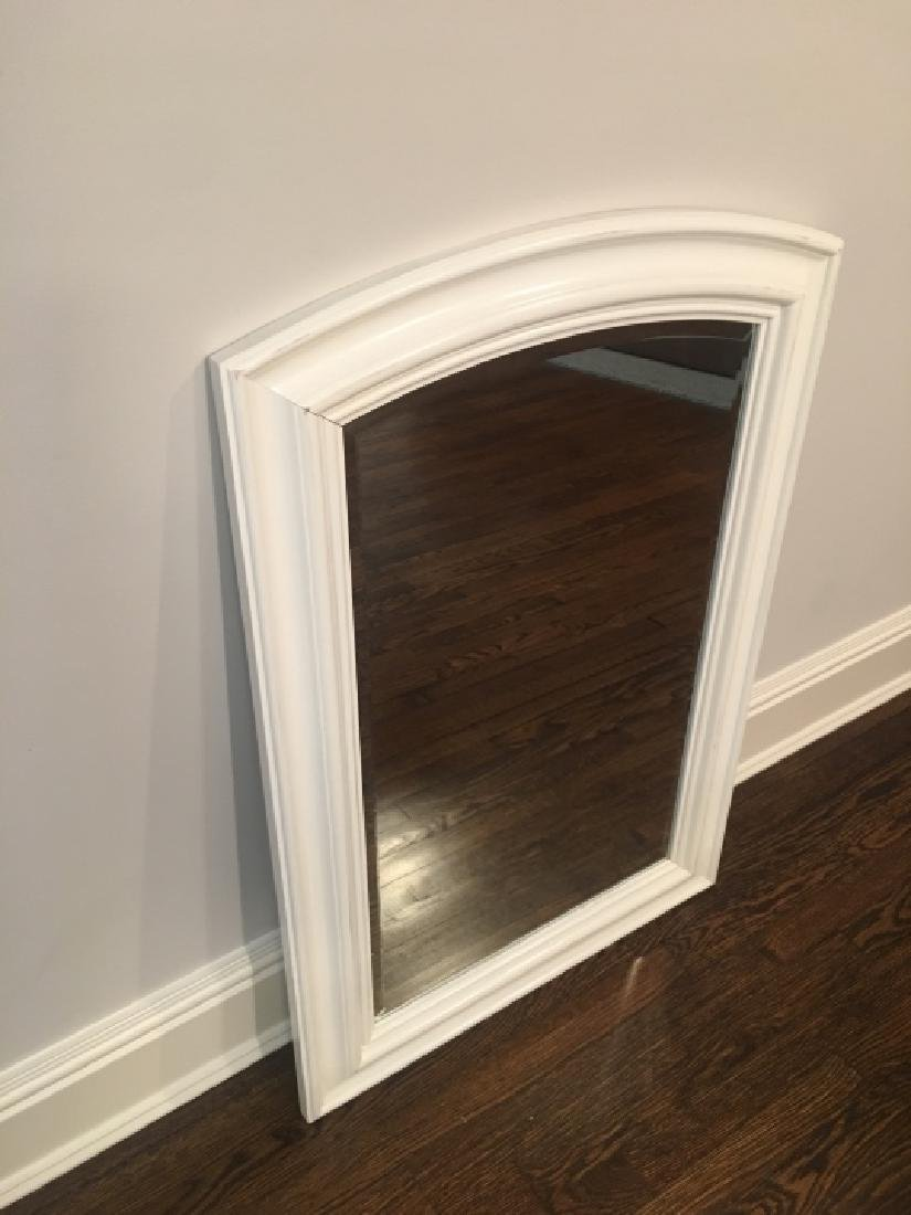 Contemporary White Wood Frame Beveled Mirror - 4