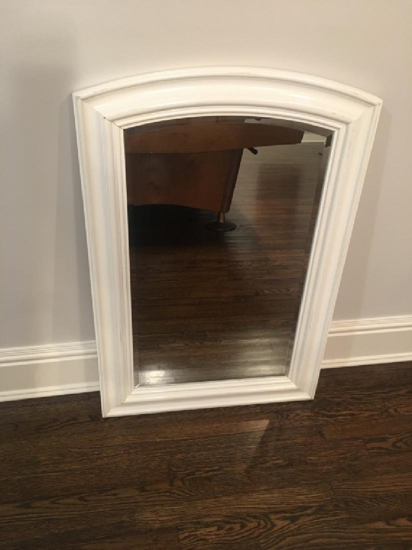 Contemporary White Wood Frame Beveled Mirror - 5