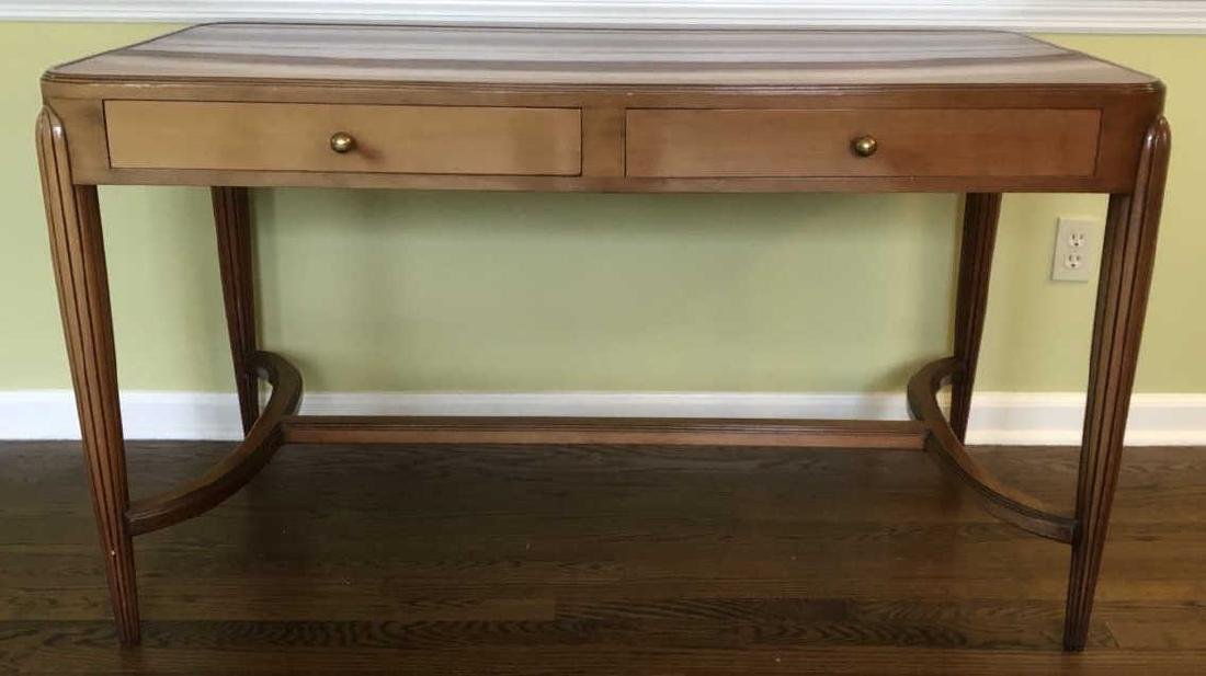 Art Deco Style Burled Wood Desk / Vanity