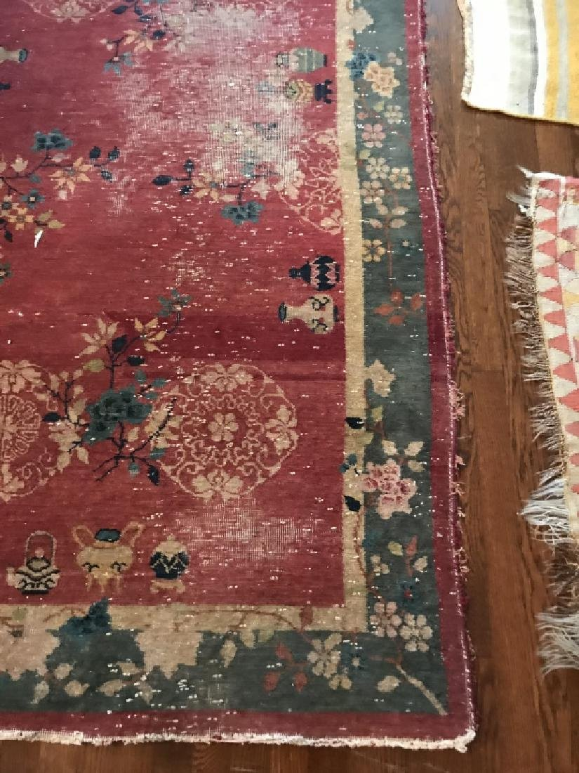 Antique Chinese Art Deco Style Throw Rug / Carpet - 2