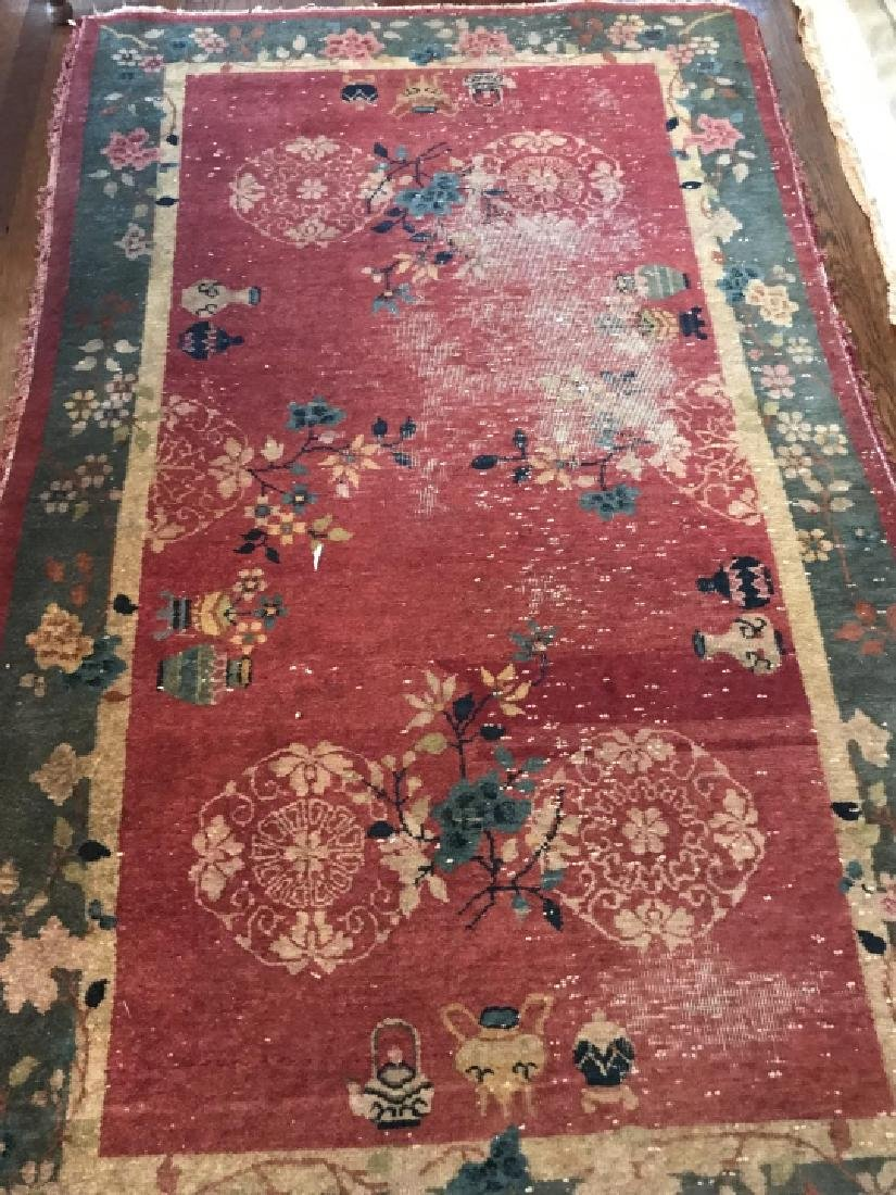 Antique Chinese Art Deco Style Throw Rug / Carpet - 4