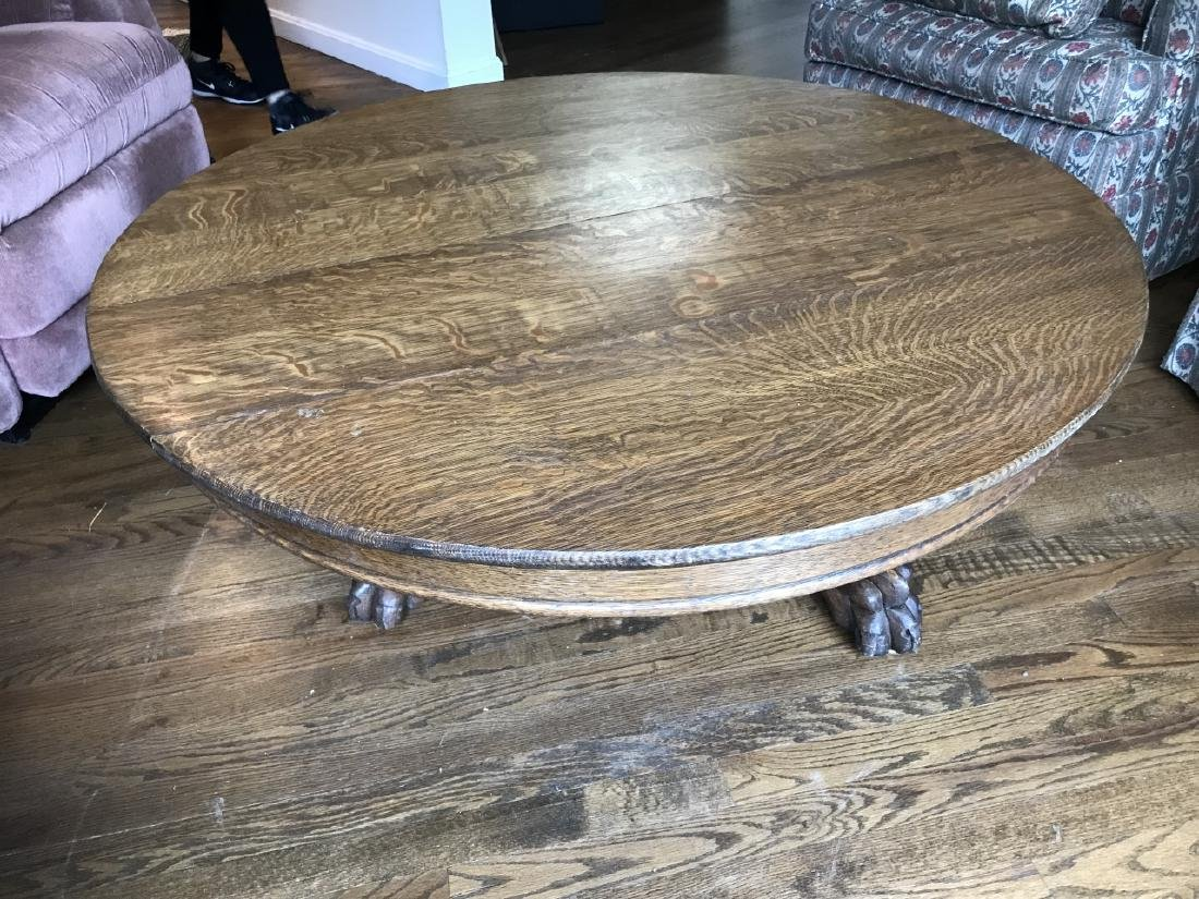 Antique C 1900 American Carved Oak Coffee Table - 4