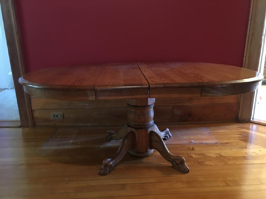 Oak Claw Foot Dining Table - 2