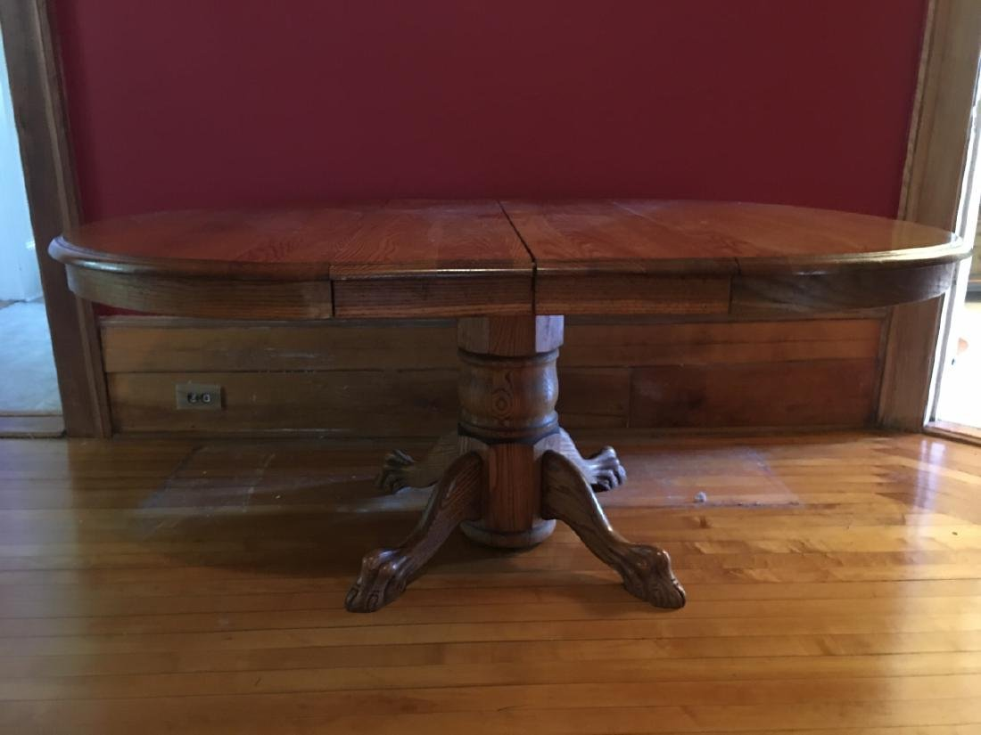 Oak Claw Foot Dining Table - 3
