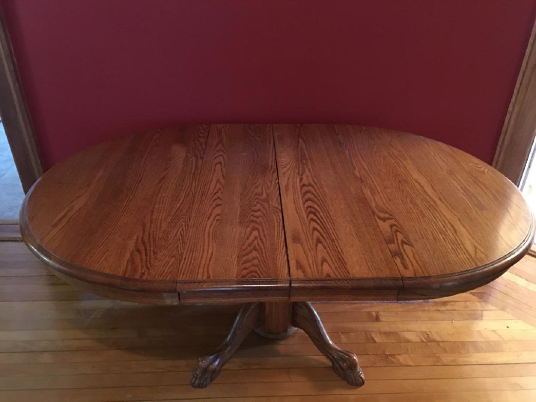 Oak Claw Foot Dining Table - 4