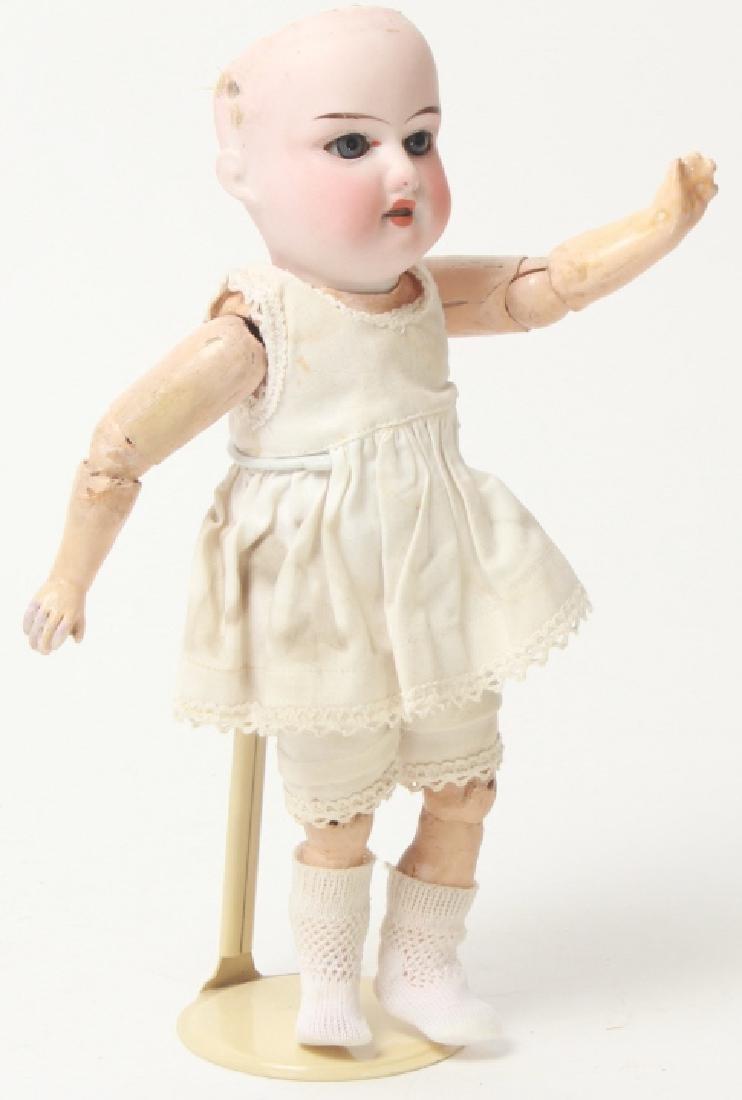 Antique German Small Bisque Doll w Straight Wrist