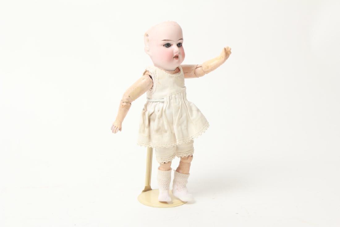 Antique German Small Bisque Doll w Straight Wrist - 3