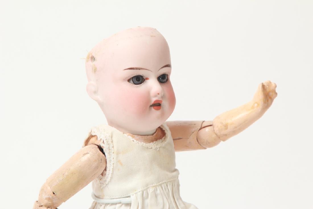 Antique German Small Bisque Doll w Straight Wrist - 4