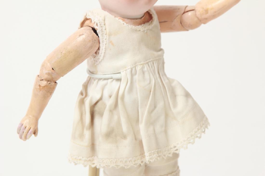 Antique German Small Bisque Doll w Straight Wrist - 7