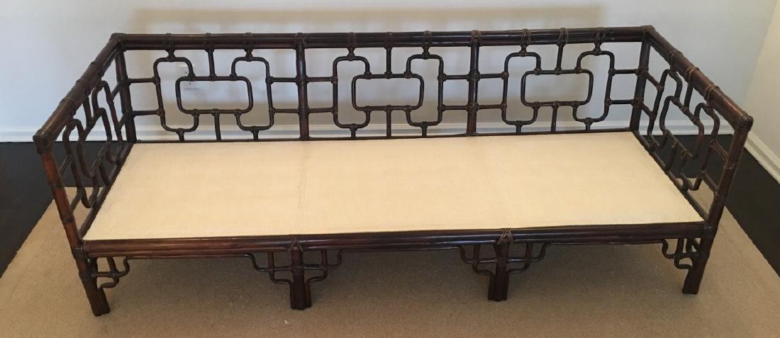 Asian Style Bamboo Frame Settee / Sofa W Cushions
