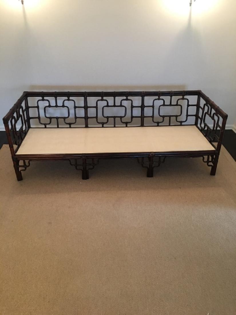 Asian Style Bamboo Frame Settee / Sofa W Cushions - 2