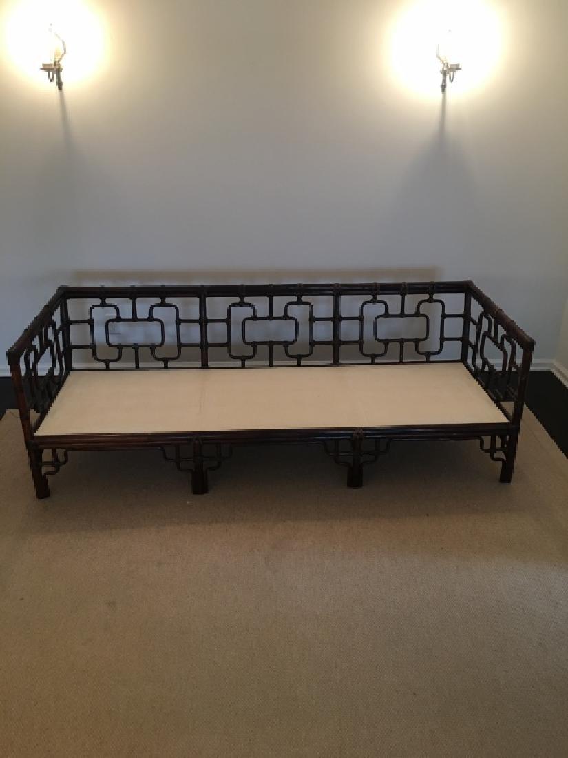 Asian Style Bamboo Frame Settee / Sofa W Cushions - 3