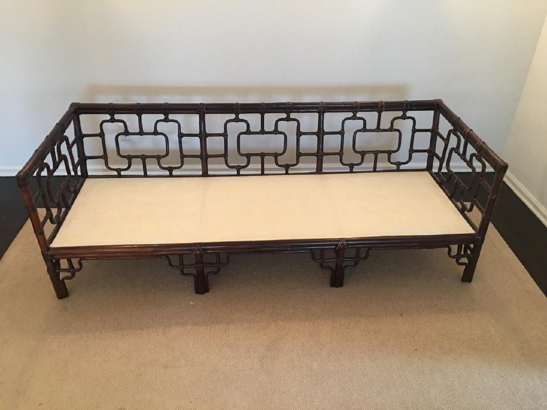 Asian Style Bamboo Frame Settee / Sofa W Cushions - 4
