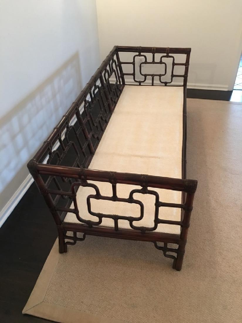 Asian Style Bamboo Frame Settee / Sofa W Cushions - 5
