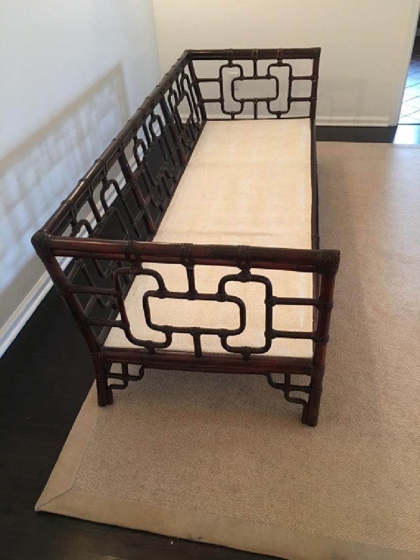 Asian Style Bamboo Frame Settee / Sofa W Cushions - 6