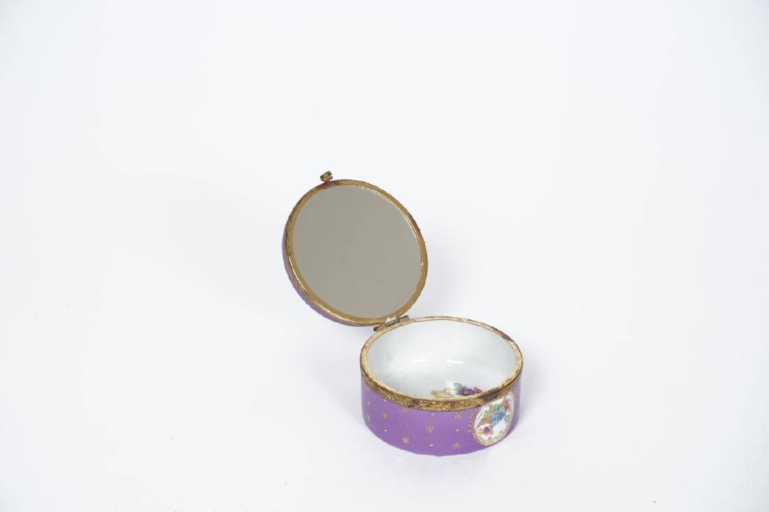 Antique German Gilt & Porcelain Jewelry Box - 2
