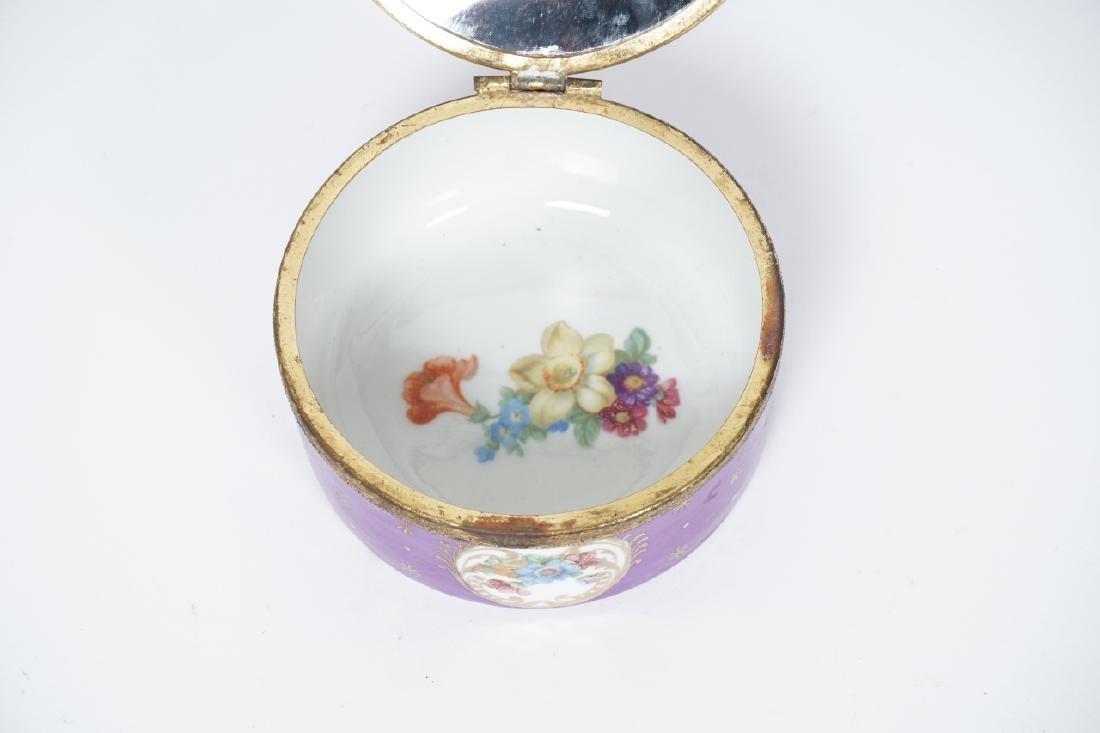 Antique German Gilt & Porcelain Jewelry Box - 3