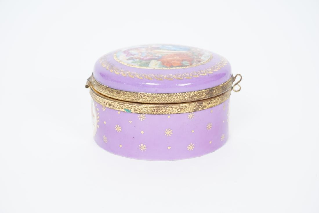 Antique German Gilt & Porcelain Jewelry Box - 4
