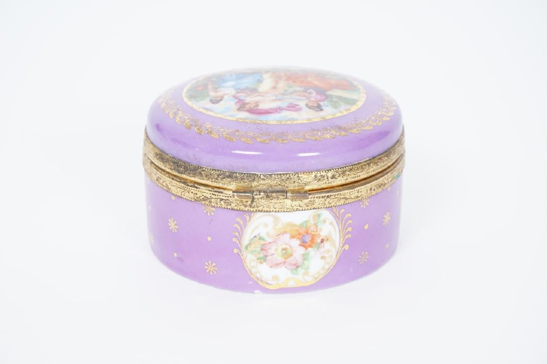 Antique German Gilt & Porcelain Jewelry Box - 5