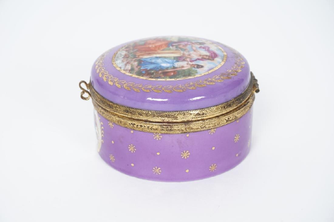 Antique German Gilt & Porcelain Jewelry Box - 6