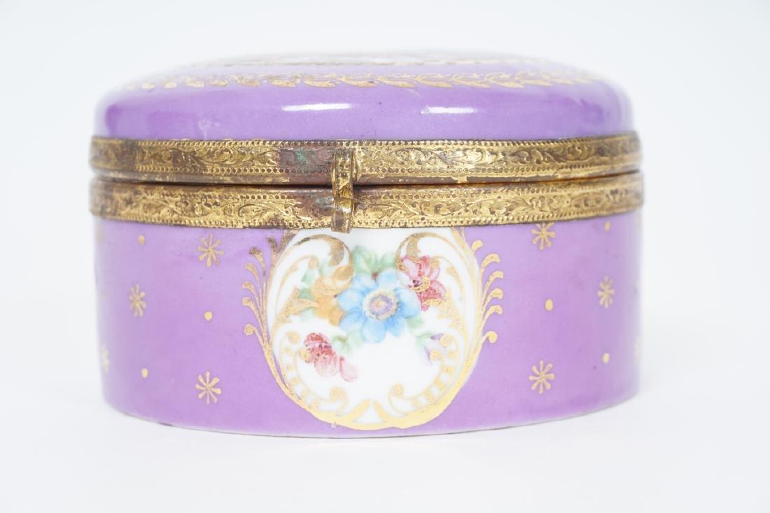 Antique German Gilt & Porcelain Jewelry Box - 8