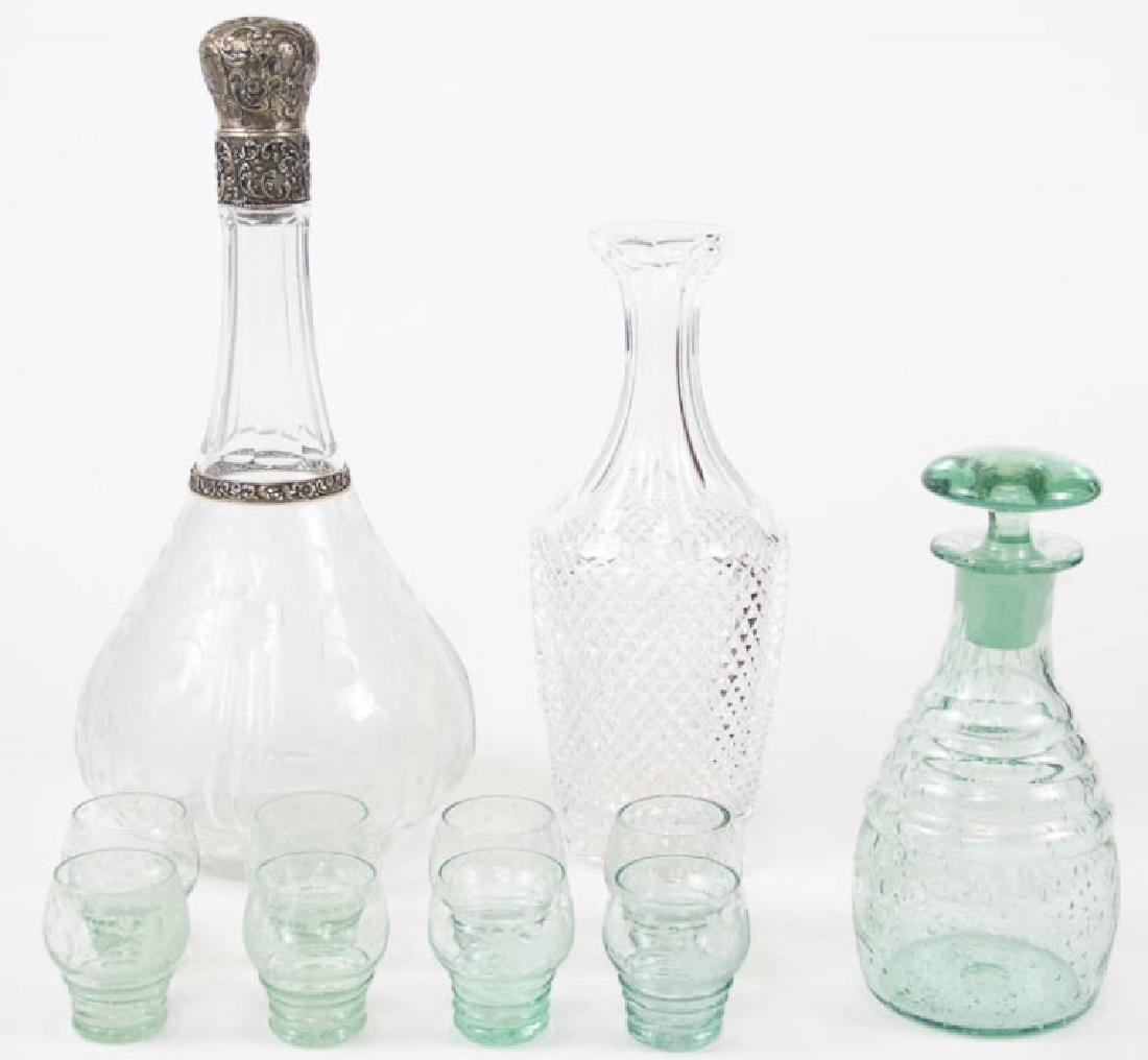 3 Glass & Crystal Decanters & Cordial Glasses
