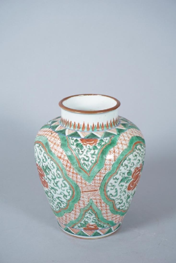 Chinese Famille Verte Porcelain Ginger Jar - 3