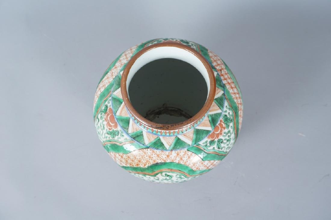 Chinese Famille Verte Porcelain Ginger Jar - 8