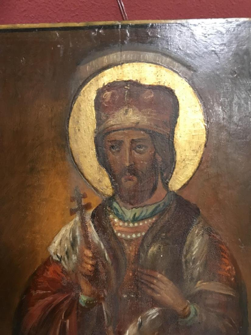 Antique 19th C Russian Icon of Alexander Nevsky - 3