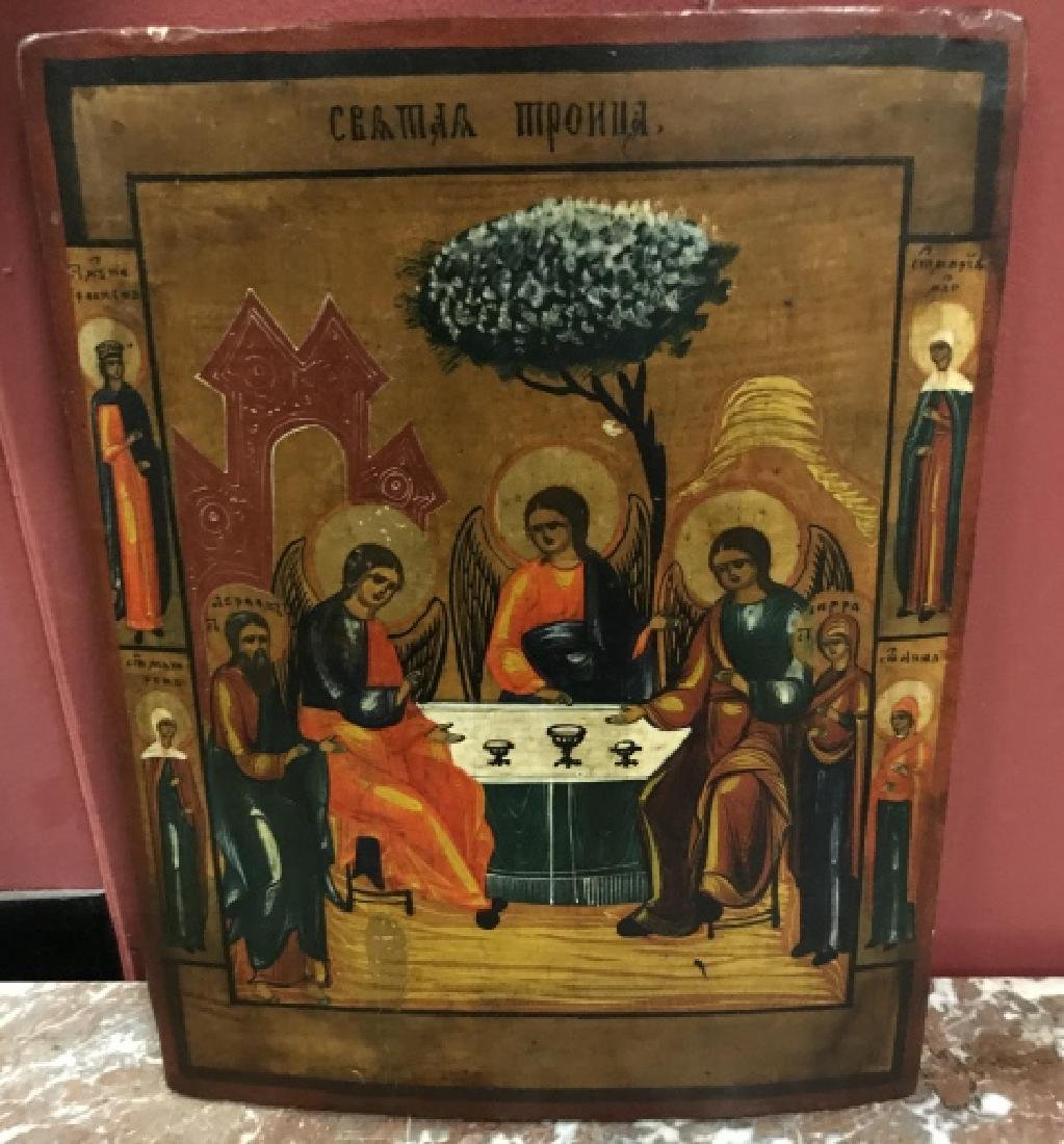 Antique 19th Century Russian Icon of The Trinity