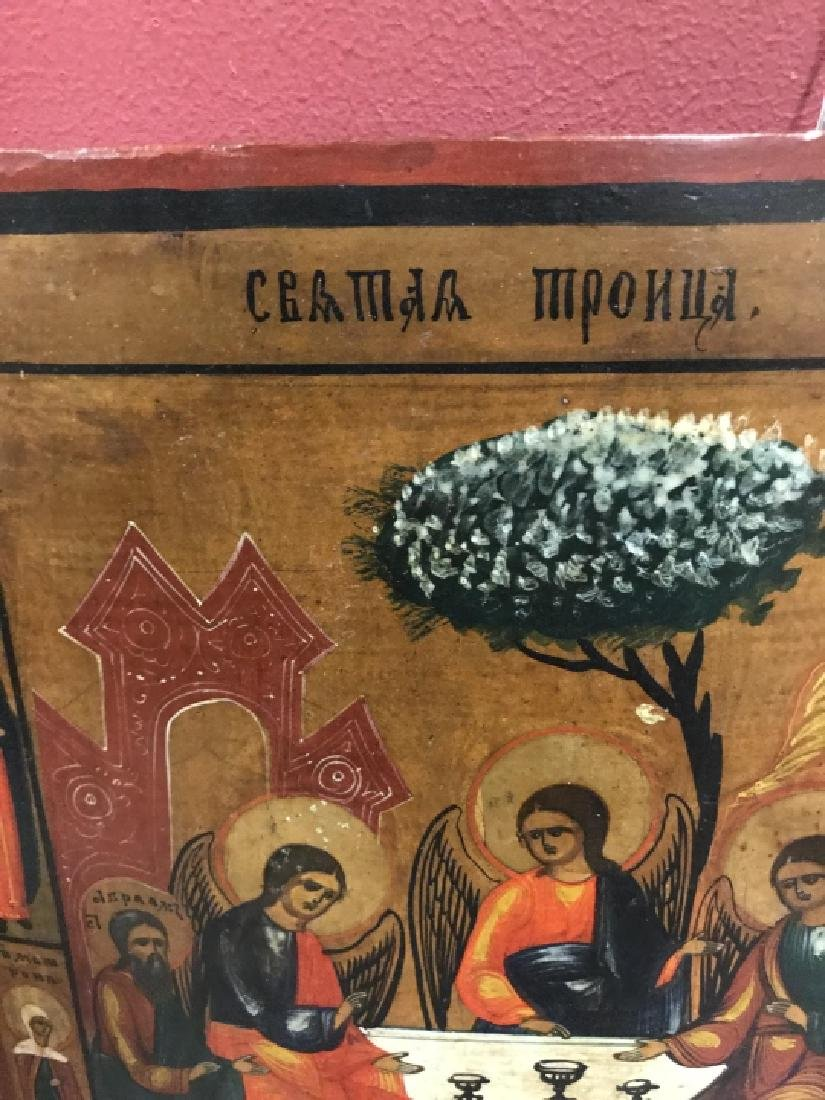 Antique 19th Century Russian Icon of The Trinity - 4