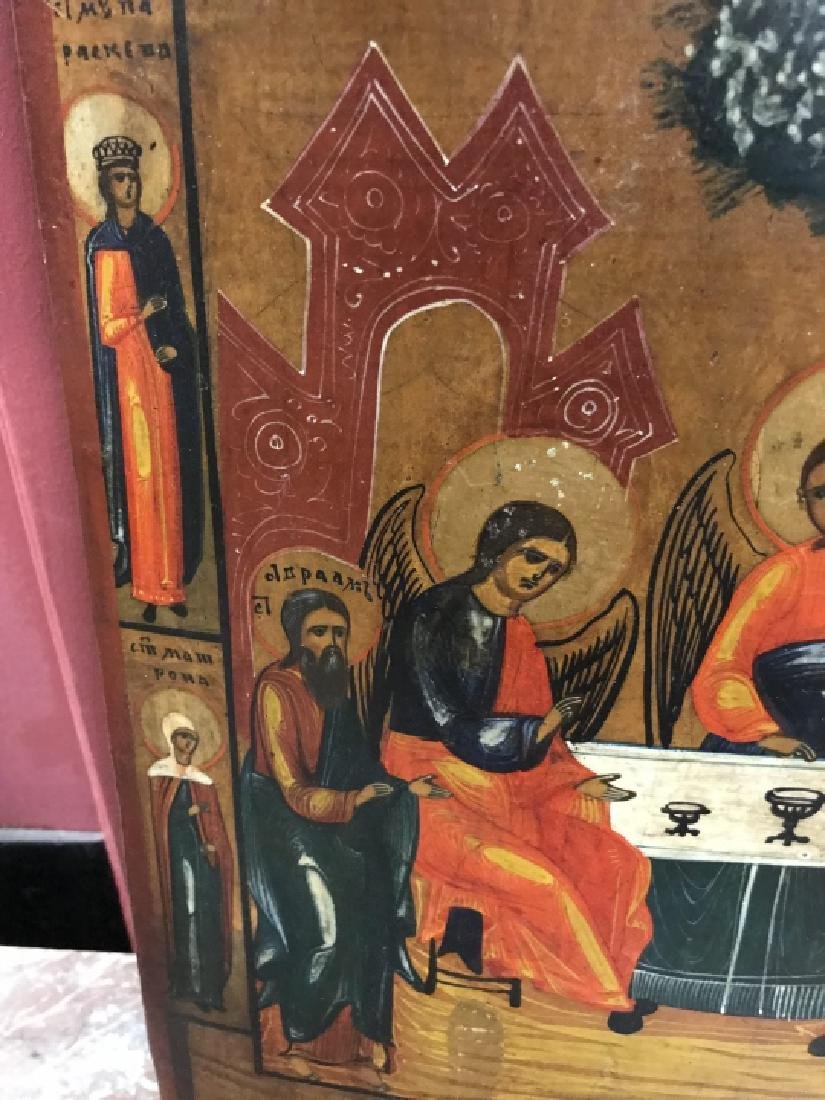 Antique 19th Century Russian Icon of The Trinity - 5