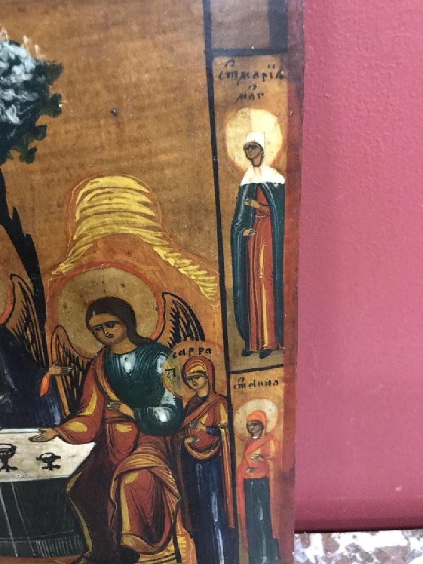Antique 19th Century Russian Icon of The Trinity - 6