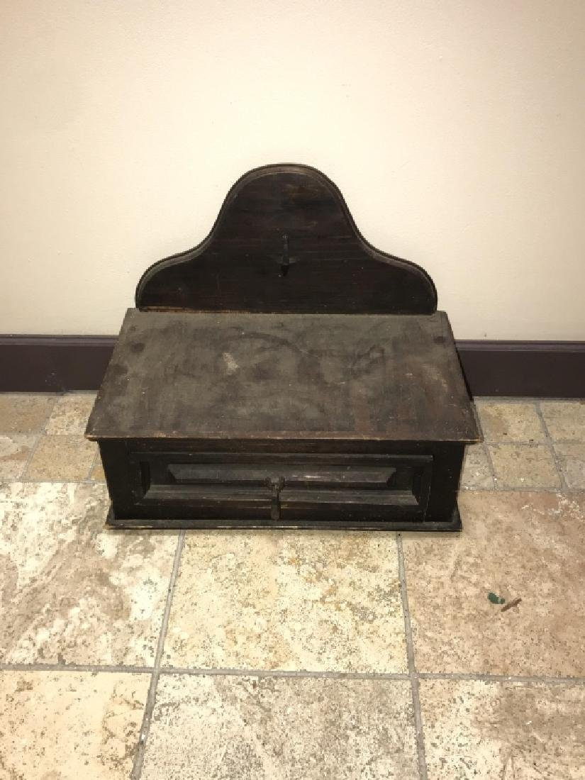 Antique Hand Carved Wooden Candle Box - 3