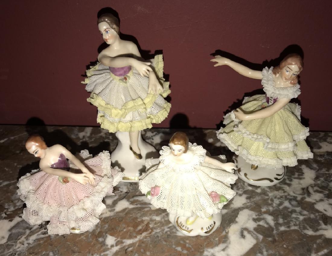 4 German Dresden Porcelain Ballerina Figurines