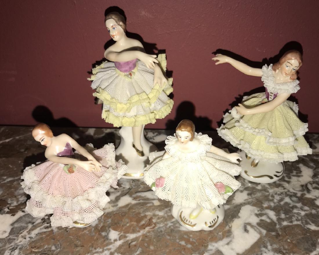 4 German Dresden Porcelain Ballerina Figurines - 3