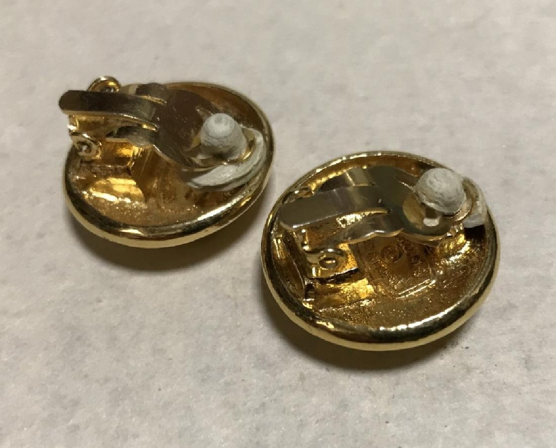 Vintage Chanel Double C Logo Clip Earrings - 2