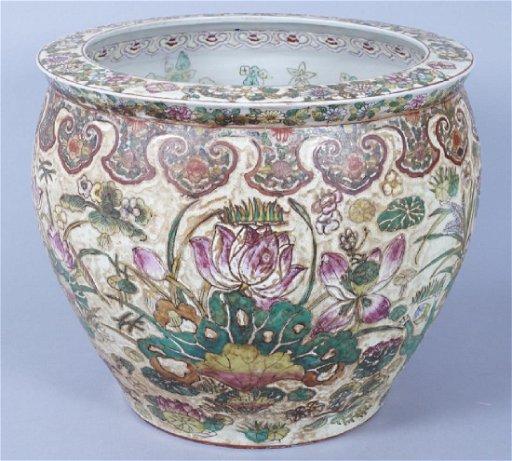 Large Antique Chinese Porcelain Fish Bowl Planter