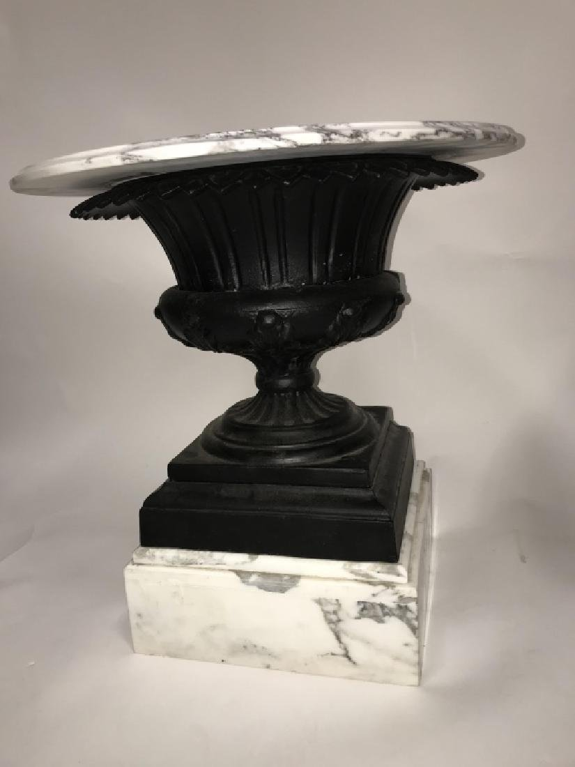 Pair Cast Iron Urn and Marble Side Tables - 2